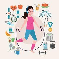 mulher pulando corda estilo de vida saudável conjunto de ícones vetor