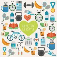 coração com estilo de vida saudável definir padrão de ícones vetor