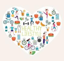 pacote de estilo de vida saudável definido ícones no coração vetor