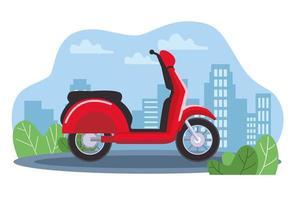 veículo scooter de motocicleta vermelha na cidade vetor