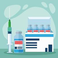 frascos de vacina covid19 em caixa e seringa vetor
