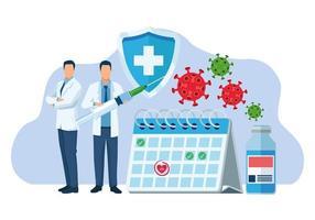 médicos com vacina covid19 e partículas vetor