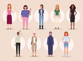 pacote de nove personagens de avatares de mulheres bonitas vetor