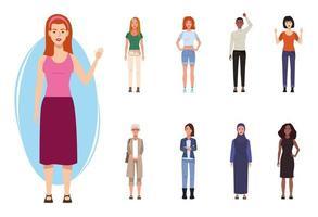 pacote de nove belas personagens femininas vetor