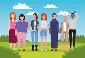 pacote de sete belas mulheres na paisagem vetor