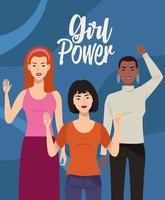 grupo de personagens de mulheres bonitas com letras de poder feminino vetor