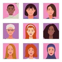 pacote de nove lindas personagens femininas vetor