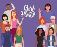grupo de mulheres bonitas com letras de poder feminino vetor