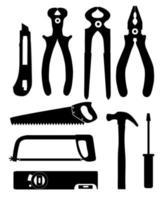 conjunto de ícones isolados, construindo ferramentas para reparo. alicate, pinças, serra, faca, martelo, chave de fenda e nível. vetor