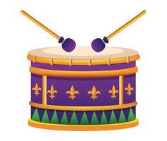 ícone de instrumento musical de bateria de mardi gras vetor