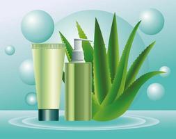 dois frascos e tubos verdes para cuidados com a pele com planta de aloe vetor
