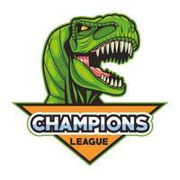 Tyrannosaurus rex animal wild head com letras da Champions League vetor