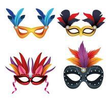 pacote de quatro máscaras de carnaval e penas vetor