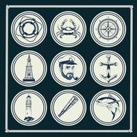 pacote de nove elementos náuticos cinza conjunto de ícones vetor