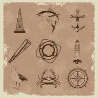 pacote de nove elementos náuticos cinza definir ícones no fundo vintage vetor