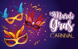 letras de celebração do carnaval de mardi gras com máscaras e penas vetor