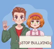 casal de jovens adolescentes parando de bullying com letras na etiqueta vetor