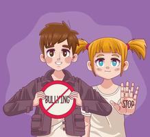 casal de jovens adolescentes com sinal de parar o bullying vetor