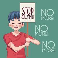 menino adolescente com pare de letras em banner de protesto vetor