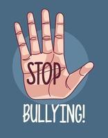 mão humana com letras de parar bullying vetor