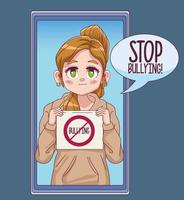 menina fofa com banner para parar de bullying em personagem de mangá em quadrinhos para smartphone vetor