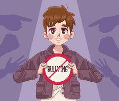 jovem adolescente com sinal de rotulação para parar de bullying e indexação de mãos vetor