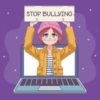 """menina bonitinha com banner """"pare o bullying"""" em personagem de mangá em quadrinhos para laptop vetor"""