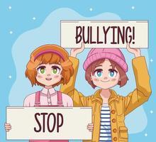 Lindo casal de meninas com banners de protesto e personagens de mangá em quadrinhos vetor
