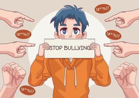menino adolescente com parar de bullying letras em banner e indexação de mãos vetor