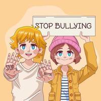 casal de jovens adolescentes parando de bullying letras no banner vetor