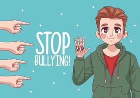 jovem adolescente com parar de bullying letras e indexação de mãos vetor