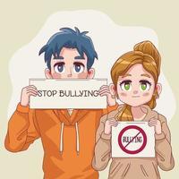 casal de jovens adolescentes com letreiros pare de bullying em faixas vetor