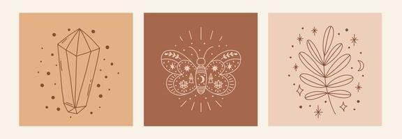 boho místico doodle esotérico conjunto pôster de arte de linha mágica com folha de diamante borboleta lua e estrelas ilustração em vetor moderno boêmio