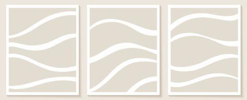 modelos estéticos contemporâneos com formas abstratas orgânicas e linha em cores nuas fundo boho pastel em ilustração vetorial de estilo minimalista de meados do século vetor