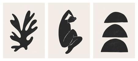 conjunto contemporâneo moderno de estampas artísticas minimalistas geométricas abstratas vetor