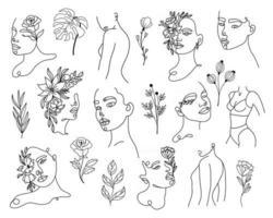 conjunto de retratos de mulher lineares e elementos florais vetor