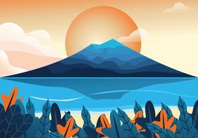 desenho de vetor de vista de montanha