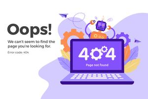 Erro 404 na página da web indisponível. Arquivo não encontrado conceito vetor