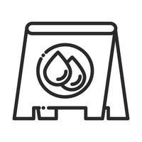 ícone de estilo de linha de higiene doméstica de limpeza de piso molhado da tabuleta vetor