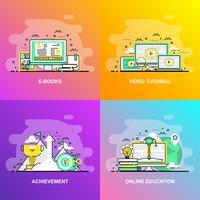Moderna linha plana gradiente suave conceito web banner de vídeo tutorial, realização, educação on-line e livros de E vetor