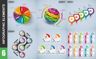 Conjunto de modelo de design de vetor de infografia 3d de apresentação empresarial