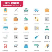 Conjunto simples de ícones plana de vetor de serviços relacionados de Hotel