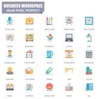 Conjunto simples de ícones plana do vetor de espaço de trabalho de negócios relacionados