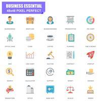 Conjunto simples de negócios essenciais relacionados Vector plana ícones