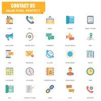 Conjunto simples de contato nos ícones relacionados vetor plana