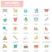 Conjunto simples de elementos do bebê relacionados ícones plana de vetor