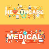 Conjunto médico e de saúde do conceito plana