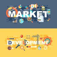 Mercado e desenvolvimento conjunto de conceito plana