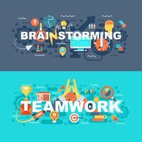 Trabalho em equipe e brainstorming conjunto de conceito plana