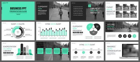 Modelos de slides de PowerPoint de apresentação de negócios de elementos de infográfico.